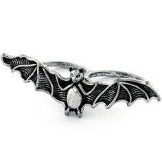 Bcbgeneration Ring, Silver Tone Bat Two Finger Ring ($9.99) ❤ liked on Polyvore featuring jewelry, rings, accessories, anillos, women, bcbgeneration, two finger ring, 2 finger ring, mixed-metal jewelry and silvertone jewelry