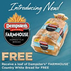 Hey Ontario get your coupon to try new Dempster's Farmhouse Country White Bread for FREE on our facebook page! Hurry they're going fast! (This Bread and coupon  available in Ontario only at this time) White Bread, Ontario, Coupons, Bakery, Snack Recipes, Chips, Farmhouse, Facebook, Country