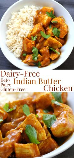 dairy free Quick, easy, and healthy! This lighten-up Dairy-Free Indian Butter Chicken is gluten-free, paleo, and top 8 allergy-free! A delicious dinner recipe starting with a simple coconut Dairy Free Keto Recipes, Paleo Chicken Recipes, Gluten Free Chicken, Healthy Dinner Recipes, Keto Chicken, Paleo Indian Recipes, Gluten Free Recipes Dinner Easy, Free From Recipes, Gluten Free Indian Food