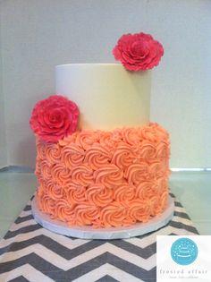 Pink buttercream rosette cake!