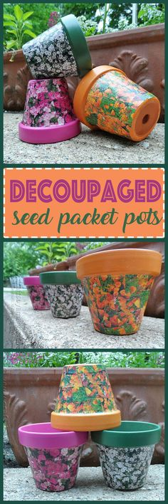 Why not recycle your seed packets and create adorable decoupaged seed packet terra cotta pots for the garden!