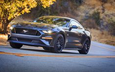 Download wallpapers 4k, Ford Mustang GT, road, 2018 cars, headlights, supercars, Ford