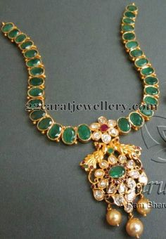 Jewellery Designs: Emerald Necklace with Peacock Locket