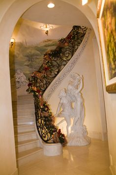 """Staircase Embelliishment at """"A Versaille Christmas in California"""". Tres Fabu Event Planning and Design Home Room Design, Dream Home Design, My Dream Home, House Design, Event Planning Design, Event Design, Christmas Staircase, Dream House Interior, Elegant Homes"""