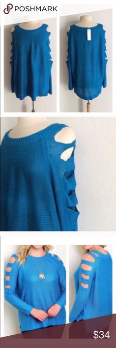"""(Plus) Cut out sweater Blue cold shoulder sweater. 100% acrylic. Extremely soft with great stretch! Great oversized look for fall and winter. TAG SIZES ARE XL AND XXXL XL: L 28"""" • B 50"""" XXXL: L 30"""" • B 54"""" Availability: XL•XXXL • 1•1 ⭐️This item is brand new with tags Price is firm unless bundled ✅Bundle offers Sweaters Crew & Scoop Necks"""
