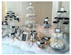 Black and White Candy Buffet (unique displays and candy choices) LOVE LOVE LOVE the displays,  hide colored candies in solid, sparkly containers, cute labels
