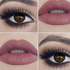 Loving this makeup! The pink lip colour is such a nice colour! The gold eyeshadow and long lashes really complements brown eyes.