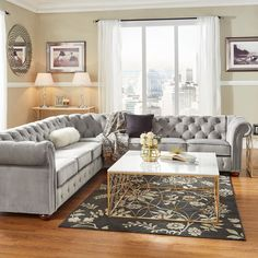 Knightsbridge Tufted Scroll Arm Chesterfield 7-seat L-shaped Sectional by iNSPIRE Q Artisan (Grey Velvet) (Bonded Leather)