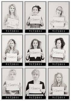 How to Plan a Bachelorette Party (via Emmaline Bride) - bachelorette party mugshots for the day after---- I think it would be cool to do some fumny ones like this the day of the wedding to let loose and get used to the photographer before the real picture taking begins.