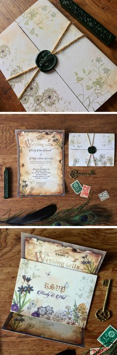 Unique Medieval fairytale inspired wedding set. This wedding invitation set has an Alice in Wonderland feel to it. The story book style gate fold invitation with woodland floral RSVP postcard inside offers your guest a magical experience.