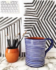 Because stripes. We'll be listing our new blue and white and black and white 1L jugs shortly.  #madeinportugal #stripes #blueandwhite #blackandwhite #handmade #craft #moderncraft #minimal #design #designer #pattern #graphic #handpainted #pottery #olhao #olhão #algarve #casacubista casa cubista