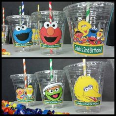 12 Personalized Sesame Street Inspired Party Cups with Striped Baby Boy 1st Birthday Party, 2nd Birthday Party Themes, Monster Birthday Parties, 1st Birthday Girls, Birthday Ideas, Sesame Street Birthday Cakes, Sesame Street Party, Sesame Street Cupcakes, Sesame Street Cookies