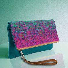 SOLD Fold-Over Clutch Glitter Dust! http://www.zazzle.com/fold_over_clutch_glitter_dust_background-256114876032414331 #Zazzle #FoldOver #Clutch #bags #Glitter #Dust #green #pink #fuchsia #abstract #Background