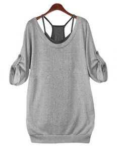 Fashionable Scoop Neck Criss-Cross Lace-Up 1/2 Sleeve T-Shirt Twinset For WomenT-Shirts | RoseGal.com