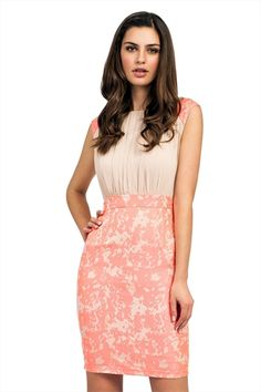 507acc12e7 Little Mistress Cream   Coral Jacquard Shoulder and Skirt Detail Dress