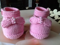 Ravelry: Project Gallery for Forget-Me-Not Baby Shoes pattern by Julia Noskova