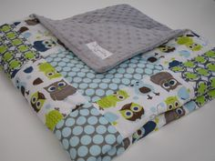 Modern Owls Patchwork Baby Blanket 32 x 32 MADE TO ORDER