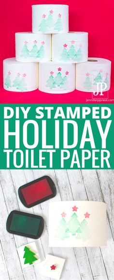 #QuiltedHoliday #AD Turn your toilet paper stash into holiday decor with homemade foam stamps and Quilted Northern Ultra Soft & Strong® Mega Rolls.