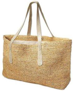 #BigSur Straw Tote by Flora Bella International #seaglassboutique Gorgeous bag with platinum shoulder straps.