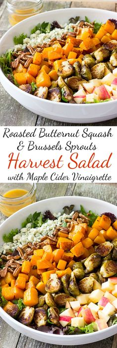 Roasted Butternut Squash & Brussels Sprouts Harvest Salad with Maple Cider Vinaigrette - A healthy salad recipe that can be used as an entree or main dish.
