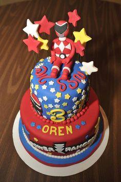 Oren's Power Rangers Birthday Cake Gateau Power Rangers, Power Rangers Birthday Cake, Power Ranger Cake, Power Ranger Party, 4th Birthday, Birthday Parties, Birthday Cakes, Cake Gallery, Sweet Cakes