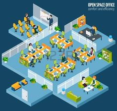 isometric people: Open space office with isometric business company interior and people vector illustration Illustration