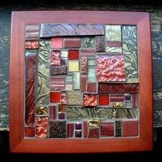 Bronze and Maroon Patchwork Mosaic Tile