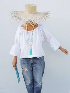 White Gypsy top Cotton Boho blouse top in soft 100% cotton