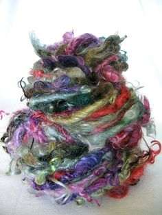 Handspun Art Yarn  Rainbow  Mohair Curl Yarn by EnchantedYarn