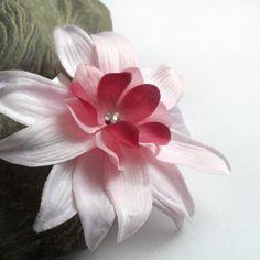 Bridesmaid Pink Flower Hair Clip