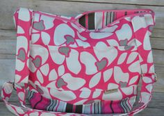 Womens purse Made in the USA by Darby Mack / Bright Pink and Grey flowers, tote, diaper bag, mom gear