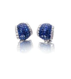 A pair of sapphire and diamond earclips, by Aletto Brothers