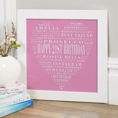 21st Birthday Gift for Her of Typographic Love Heart (pink colour option). Beautiful Personalised Word Art Gifts to Commemorate a Landmark Birthday. Easy to Create, Preview on Screen Before You Buy & Fast Free Delivery. Create Now…