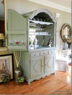 Turn an armoire into a bar