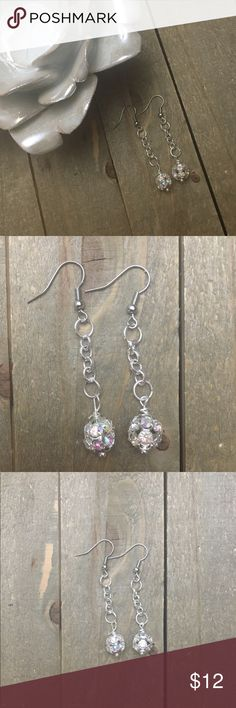 "🎄3 for $30🎄 Round Rhinestone Dangle Earrings I made these iridescent rhinestone earrings with nickel free ear wires. They are 2"" in length. Handmade Jewelry Earrings"