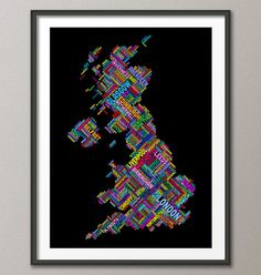 Great Britain UK City Text Map Art Print  12x16 up to by artPause, £12.99