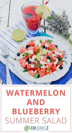 This delicious watermelon and blueberry salad is such a fresh and bright choice for any cookout or summer meal. Plus with the color scheme its a festive dish to serve at a Memorial Day or July cookout. Blueberry Salad, Dinner For 2, Vegetarian Recipes, Healthy Recipes, Eat Seasonal, Healthy Salads, Summer Salads, Natural Living, Clean Eating Recipes