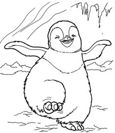 Happy Feet Dancing Coloring Pages