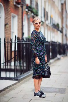 Anne-Marie Curtis, Fashion Director. Erdem floral lace dress, Balenciaga trainers, Pierre Hardy bag.  What ELLE Wears, LFW SS 2016 Street Style.