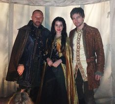 Alan Van Sprang (King Henry II), Adelaide Kane (Mary) and Torrance Coombs (Bash) on the set of Reign!