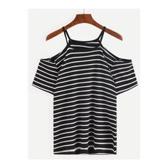 SheIn(sheinside) Cold Shoulder Black White Striped T-shirt (€8,14) ❤ liked on Polyvore featuring tops, t-shirts, multi, black and white stripe tee, off shoulder t shirt, cold shoulder tops, summer t shirts and black and white striped tee