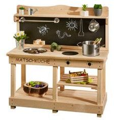 Sun Mud Kitchen / Outdoor Kitchen Made of Wood - Children's Kitchen - Play Kitchen for Outdoor Use Mud Kitchen, Kitchen Helper, Kitchen Cart, Kitchen Island, Childrens Kitchens, Metal Sink, Wood Toys, Made Of Wood, Kitchen Gadgets