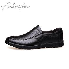82a4d5166bf Folaxshoo Lightweight Flats Men Shoes Genuine Leather Handmade Fashion Soft  Breathable Slip-on Moccasins Loafers