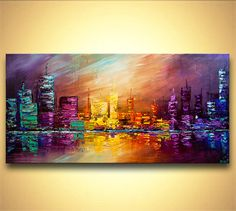 "ORIGINAL City Painting Modern Acrylic Palette Knife Abstract Painting The City by Osnat 48"" x 24"" Large"