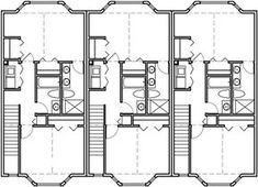 Upper Floor Plan 2 for Triplex house plans, townhouse plans, 2 bedroom triplex plans, triplex with garage, Garage Apartments, Small Apartments, Apartment Plans, Apartment Ideas, Residential Construction, Duplex House, Home Technology, Home Design Plans, House Layouts