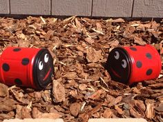 Ladybug yard art! Made from plastic Folgers Coffee containers. Painted with high gloss spray paint for plastic then used gloss acrylic to sponge on the dots & eyes.