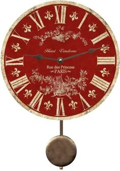 Red Toile Clock. (how many red things can I re-pinterest in two minutes!!!)