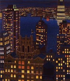 Yvonne Jacquette Lower Manhattan and New Jersey, with Water Towers II 2005