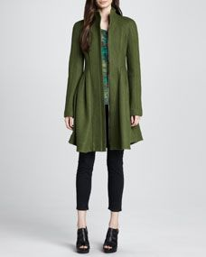 Skyscape A-Line Wool Coat & Opal Printed Silk Top