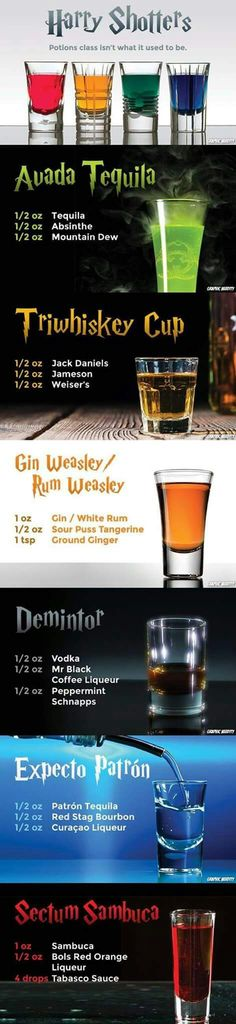 New Ideas for party drinks alcohol tipsy bartender Harry Potter Drinks, Harry Potter Food, Party Drinks, Cocktail Drinks, Party Desserts, Bartender Drinks, Shooter Recipes, Alcohol Drink Recipes, Alcohol Bar